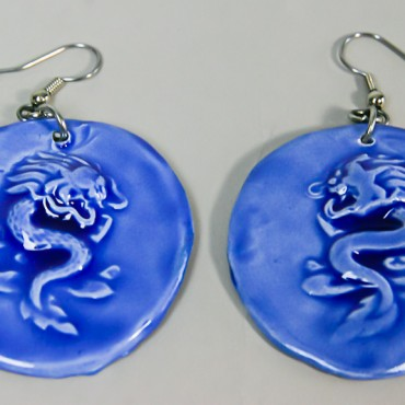 Blue Round Dragon Earlings